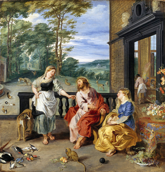 Jan Brueghel the Younger and Peter Paul Rubens - Christ in the House of Martha and Mary, sisters of Lazarus, in Bethany (John 11), National Gallery of Ireland, Dublin, circa 1628.