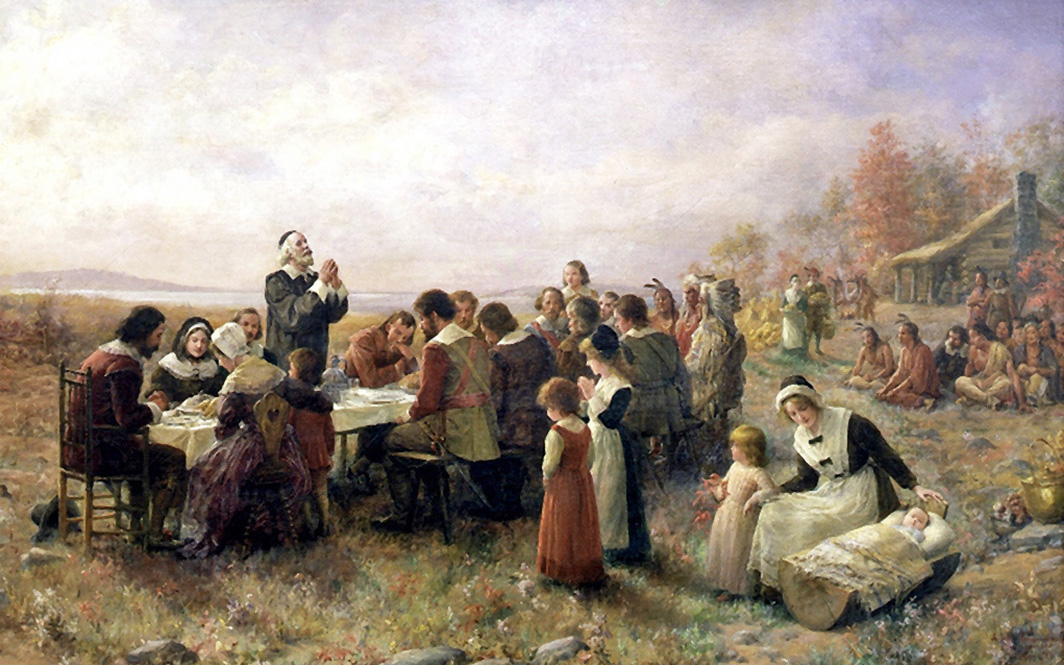 Jennie Augusta Brownscombe - The First Thanksgiving at Plymouth, Honesdale, Pennsylvania, 1914.
