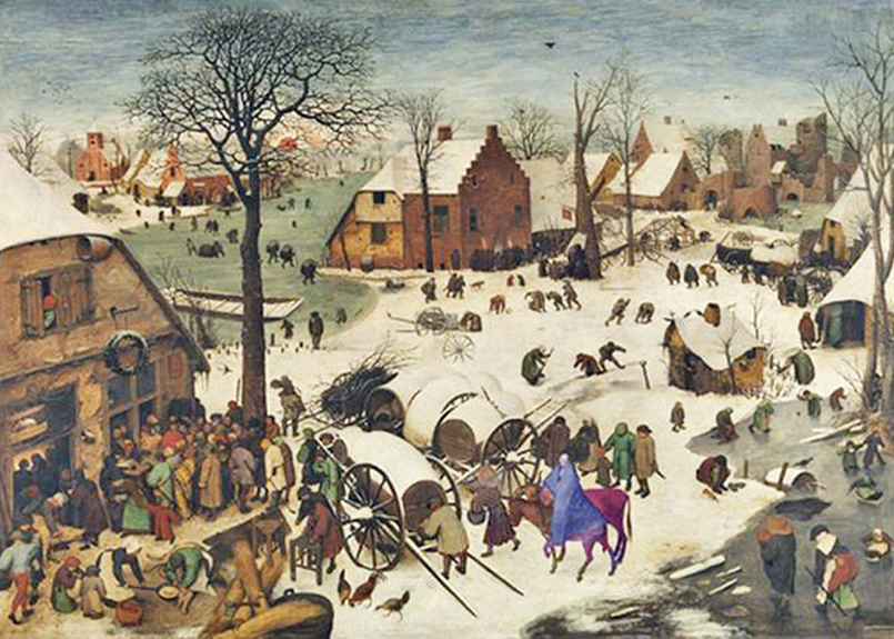 Peter Brueghel the Elder - The Census at Bethlehem, Royal Museum of Fine Arts, Brussels, Belgium, 1566; the lower middle of the painting shows Joseph leading Mary on a donkey with an ox alongside heading to the census office.