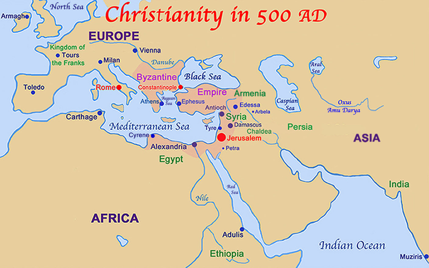 Christianity in 500 AD.
