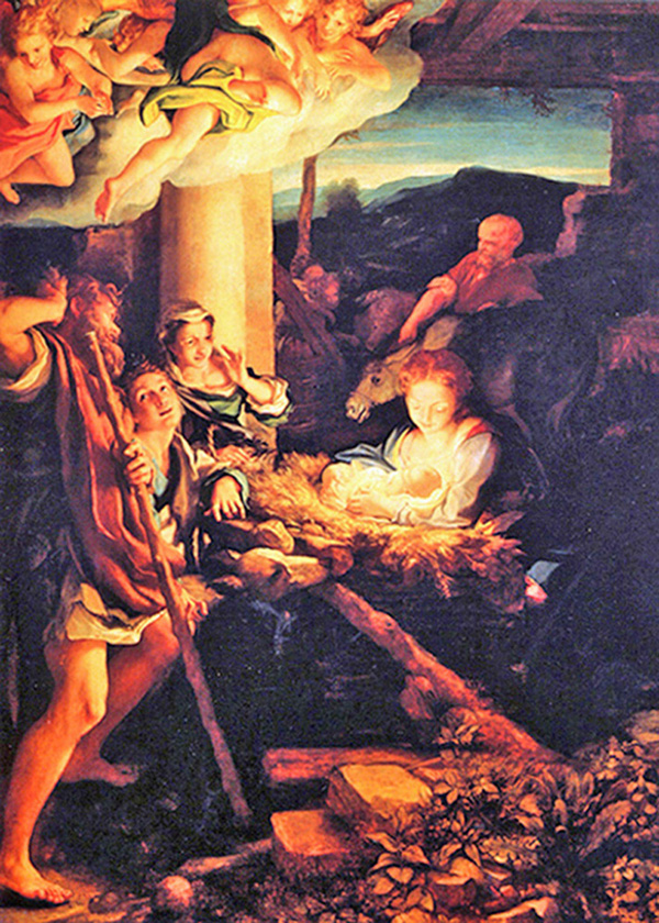 Antonio Allegri, known as Correggio - Nativity, The Holy Night, Gemäldegalerie, Dresden, Germany, 1528.