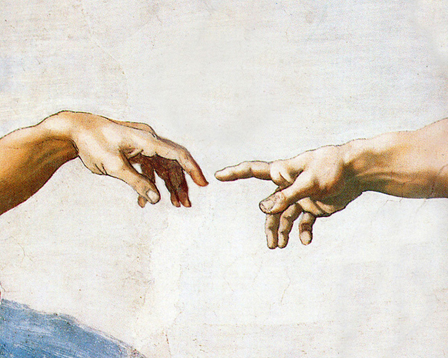 Michelangelo - God creates man (Genesis 2:7), Sistine Chapel Ceiling, Vatican, 1512.