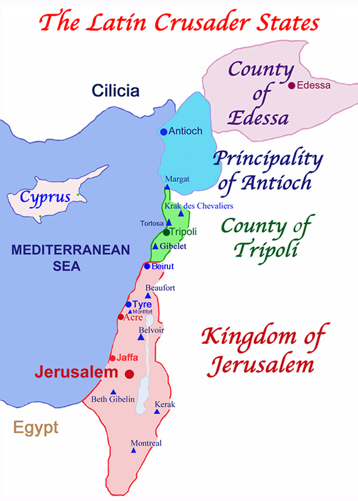The Latin Crusader States in 1140, known as Outremer; note the triangles which designate eight major Crusader castles. Cyprus did not become a Crusader State until the Third Crusade in 1192.
