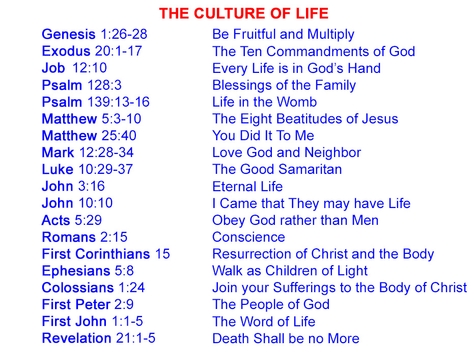 Biblical Sources supporting a Culture of Life.