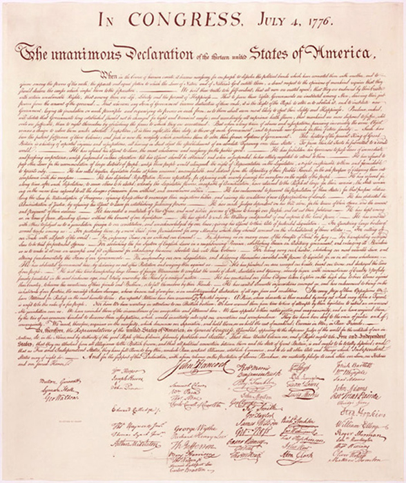 The Declaration of Independence, July 4, 1776.