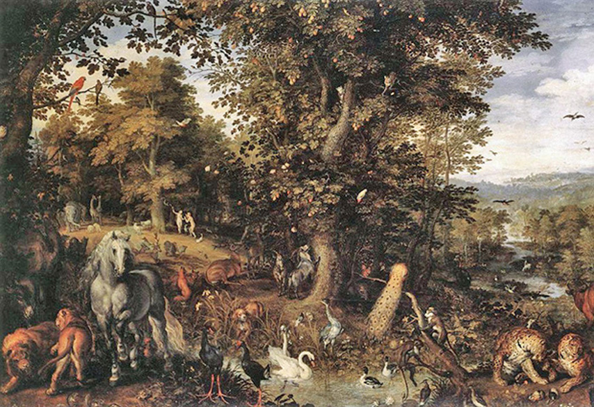 Jan Brueghel the Elder - The Garden of Eden,  Galleria Doria-Pamphili, Rome, 1605.