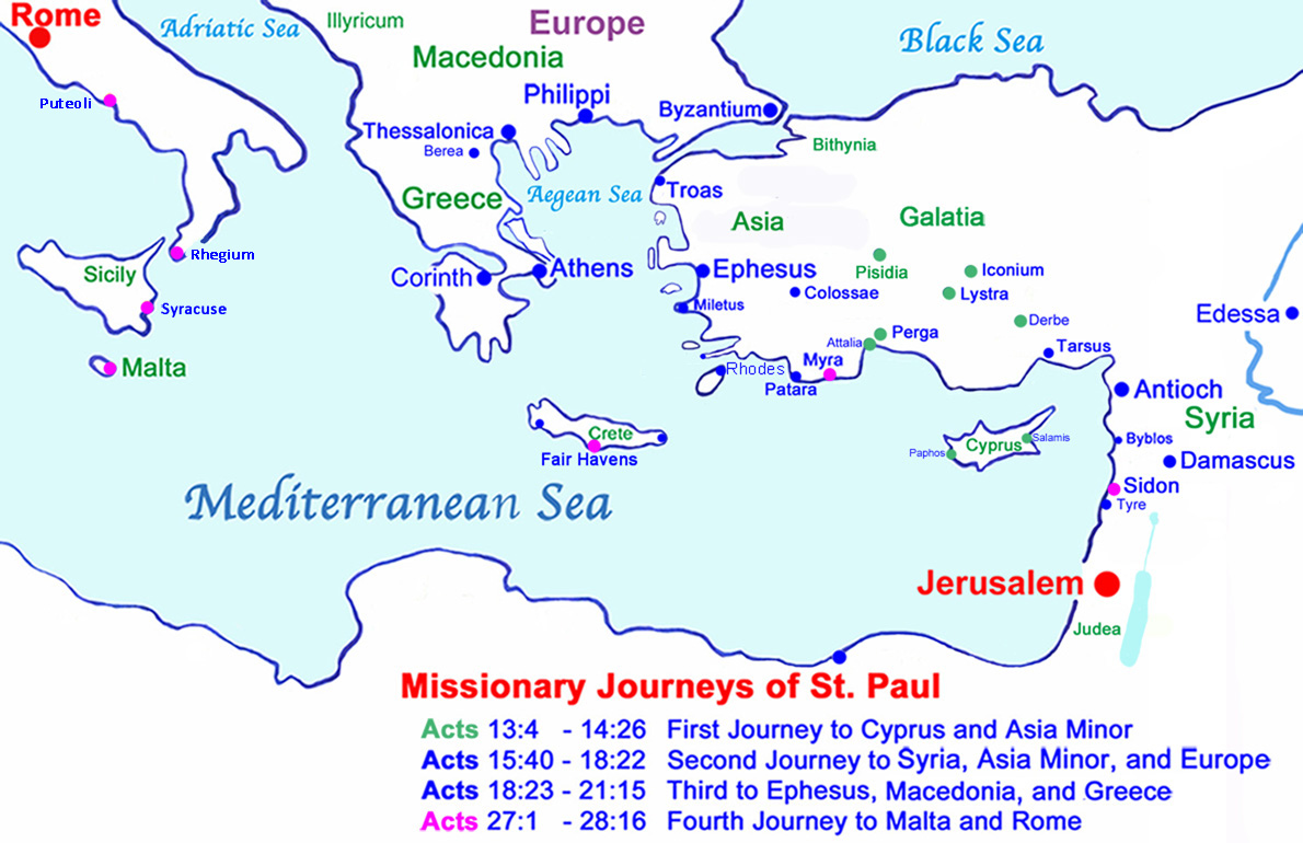 Biblical Map of St. Paul's 4 Missionary Journeys; note the green ports and cities mark the first missionary journey to Cyprus and Asia Minor; and the magenta ports indicate Paul's Mediterranean voyage on his fourth missionary journey to Rome.
