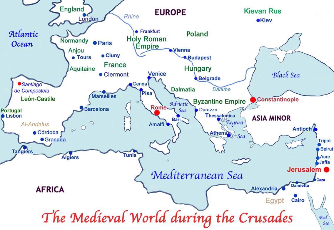 Medieval Europe and The Holy Land during the Crusades.