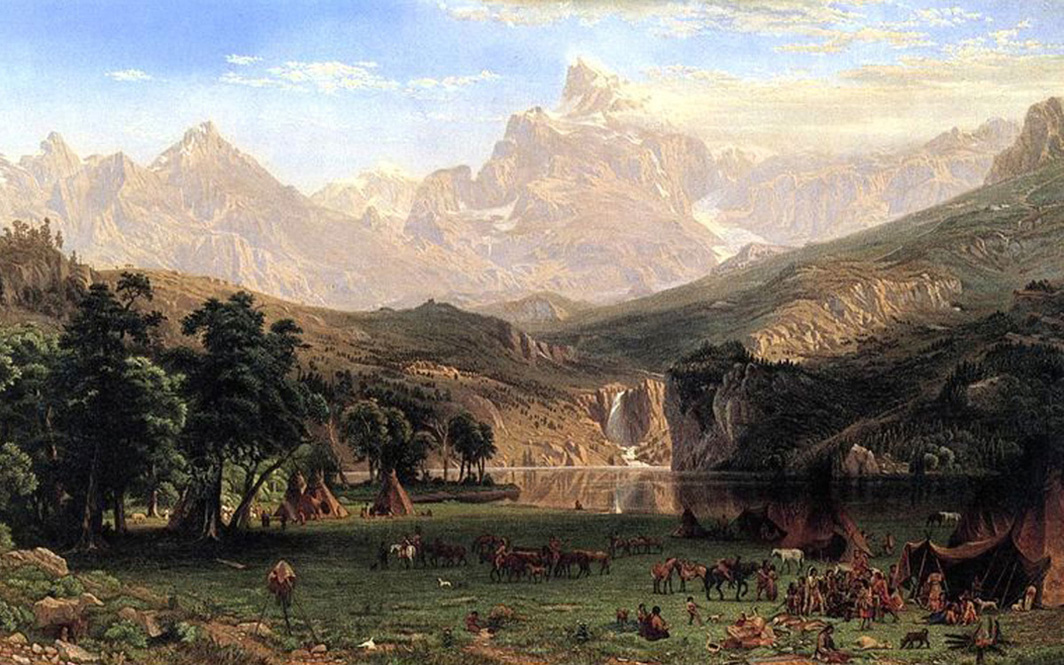 Albert Bierstadt - Rocky Mountains, Lander's Peak with Shoshone Indian encampment, Courtesy of Metropolitan Museum of Art, New York, 1863.