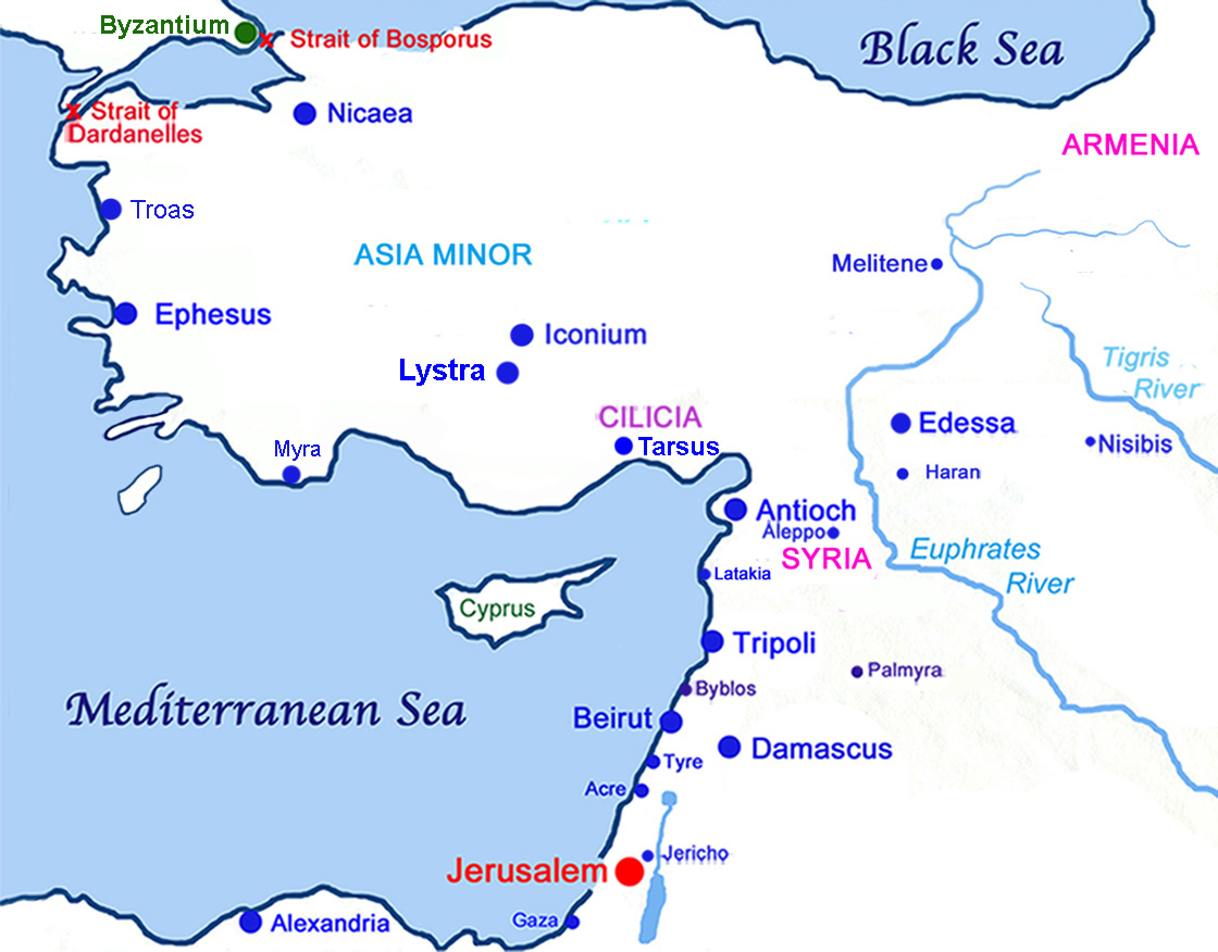 Map of Asia Minor and the Levant on the Eastern Mediterranean Sea.