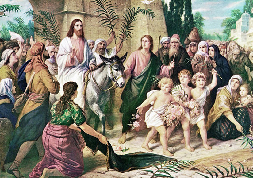 Bernhard Plockhorst of Brunswick, Germany - Palm Sunday (Matthew 21:1-11) - Triumphal Entry of Jesus into Jerusalem, Syracuse, New York, circa 1880.