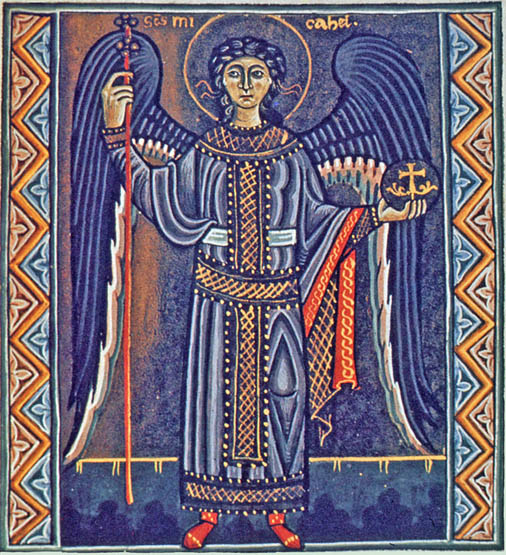 The Archangel Michael from the Psalter of Melisende, circa 1135, reprinted by permission of the British Library, Ms. Egerton 1139, Folio 205r, London.