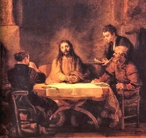 Rembrandt van Rijn of Leiden, Netherlands - The Supper at Emmaus (Luke 24:29-31), Musée du Louvre, Paris, 1648.