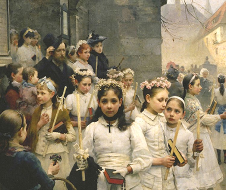 Carlo F. Smith - After the First Holy Communion, 1892.   Courtesy of Nelson Fine Art and Gifts, Steubenville, Ohio.