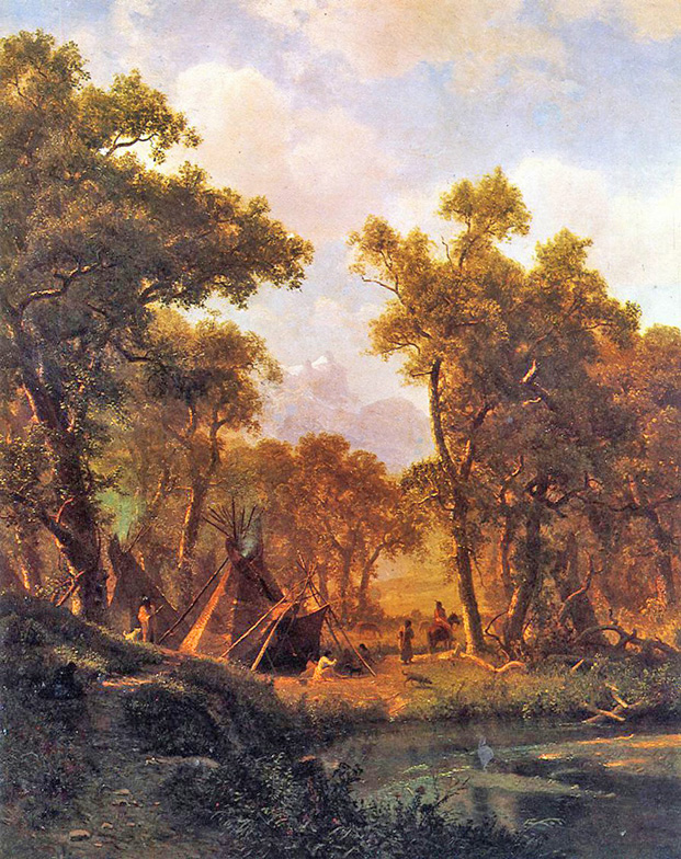 Albert Bierstadt - Indian Encampment, Shoshone Village, New York Historical Society, 1860.