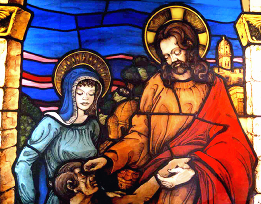 Jon Erickson and Aurora Stained Glass - Jesus Christ Heals the Blind, with Mary his Mother by his side, St. Joseph's Hospital, Savannah, Georgia, 2004.